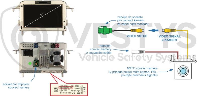 schéma zapojení couvací kamery na originál monitor Ford Sync 1