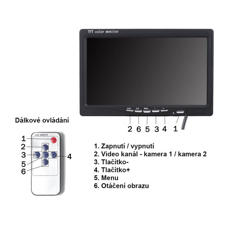 stojanový monitor 7 palcu ovládání
