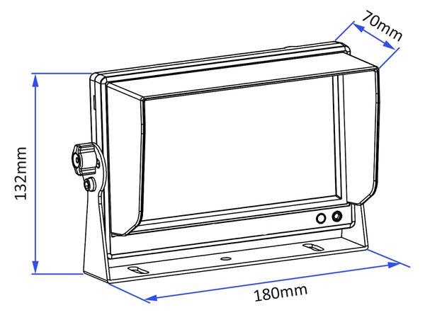 monitor ahd 7 palců ke kameře rozměry