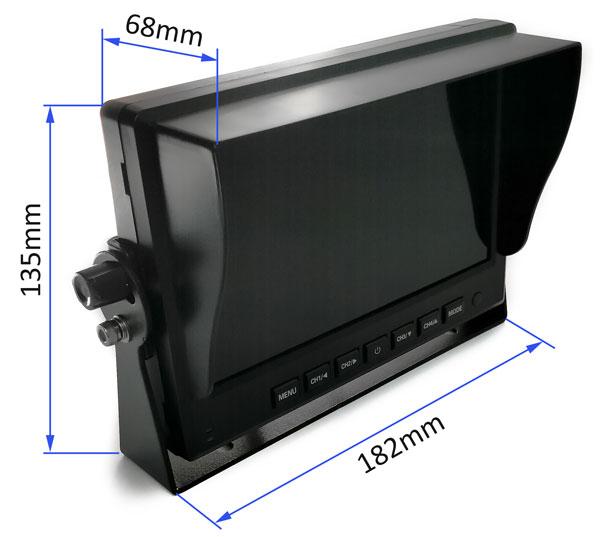 monitor ahd 7 palcov quad ku kamere rozmery