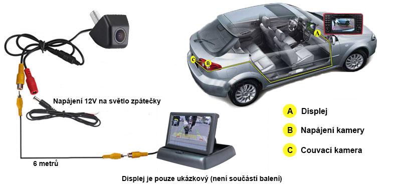 schéma zapojení couvací kamery a monitoru v autě