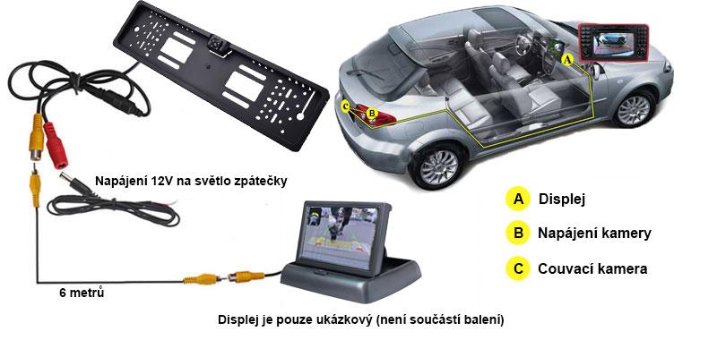 schéma zapojení couvací kamery v rámečku SPZ a monitoru