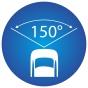 ikona znázorňující 150 stupňový pozorovací úhel kamery