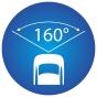 ikona znázorňující 160 stupňový pozorovací úhel kamery
