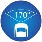 ikona znázorňujúci 170 stupňový pozorovací uhel kamery