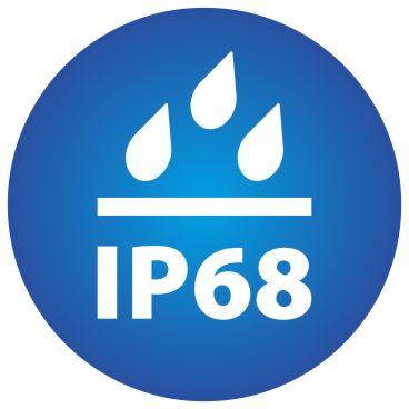 ikona znázorňující stupeň voděodolnosti kamery IP68
