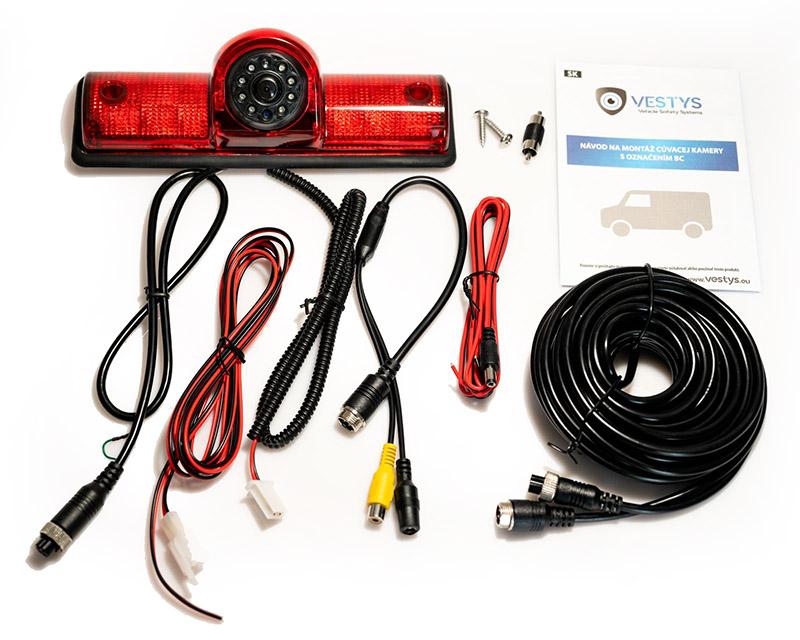 obsah balení brzdového světla s couvací kamerou pro karavan, dodávku a pohotovostní vozidla